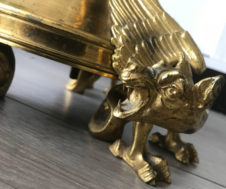 Impressive Sizable Antique French Gilt Bronze Gothic Revival Chimera Candlestick For Sale 3