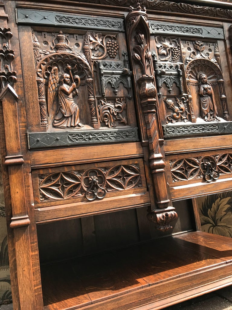 Gothic Revival Carved Oak Cabinet Depicting The Annunciation To ...