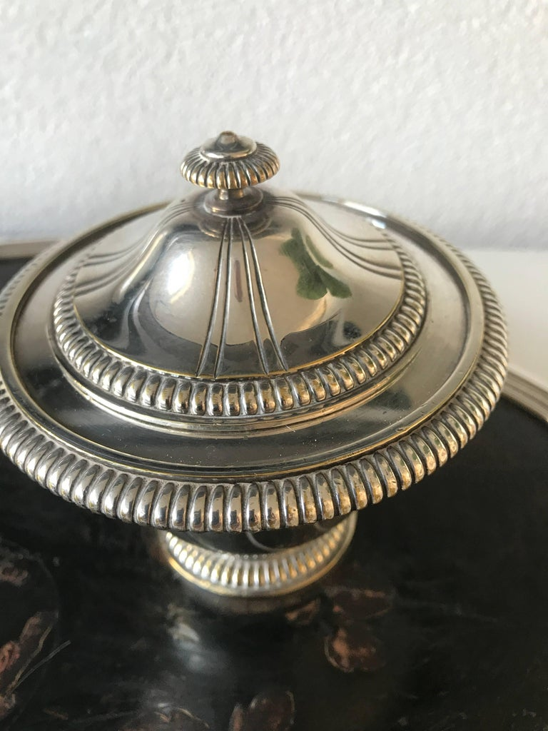 Louis XV Shipping Free, 19th Century Silvered Bronze Inkstand Signed Boin Taburet, Paris For Sale