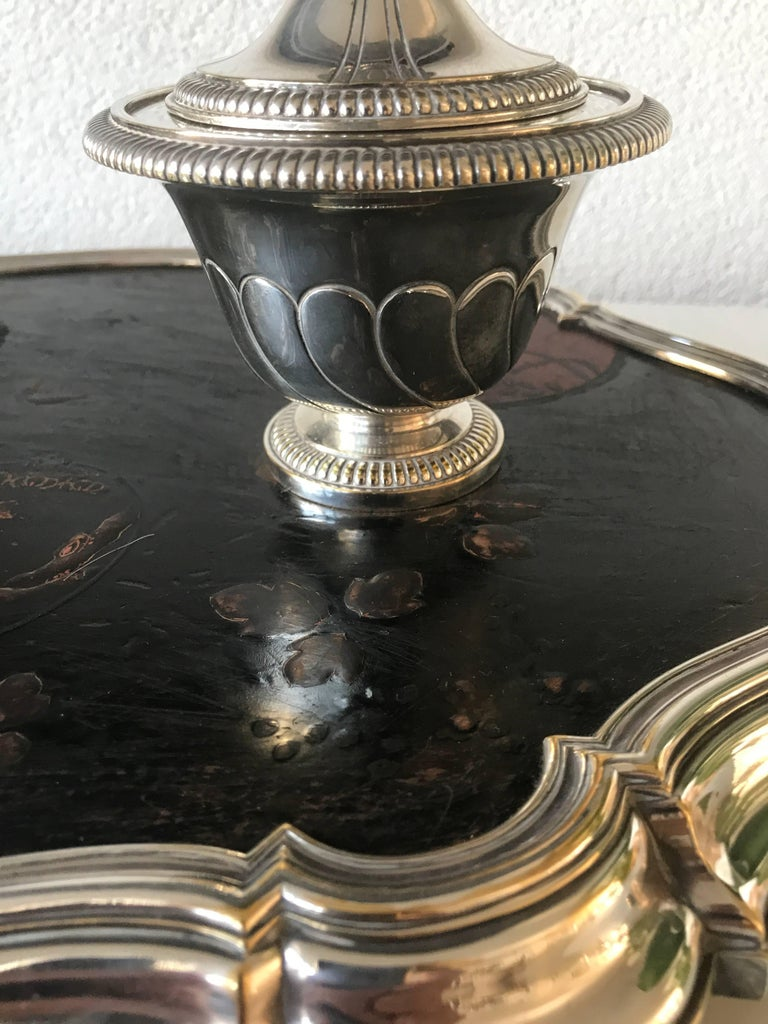 French Shipping Free, 19th Century Silvered Bronze Inkstand Signed Boin Taburet, Paris For Sale