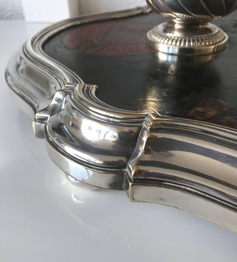 Hand-Crafted Shipping Free, 19th Century Silvered Bronze Inkstand Signed Boin Taburet, Paris For Sale