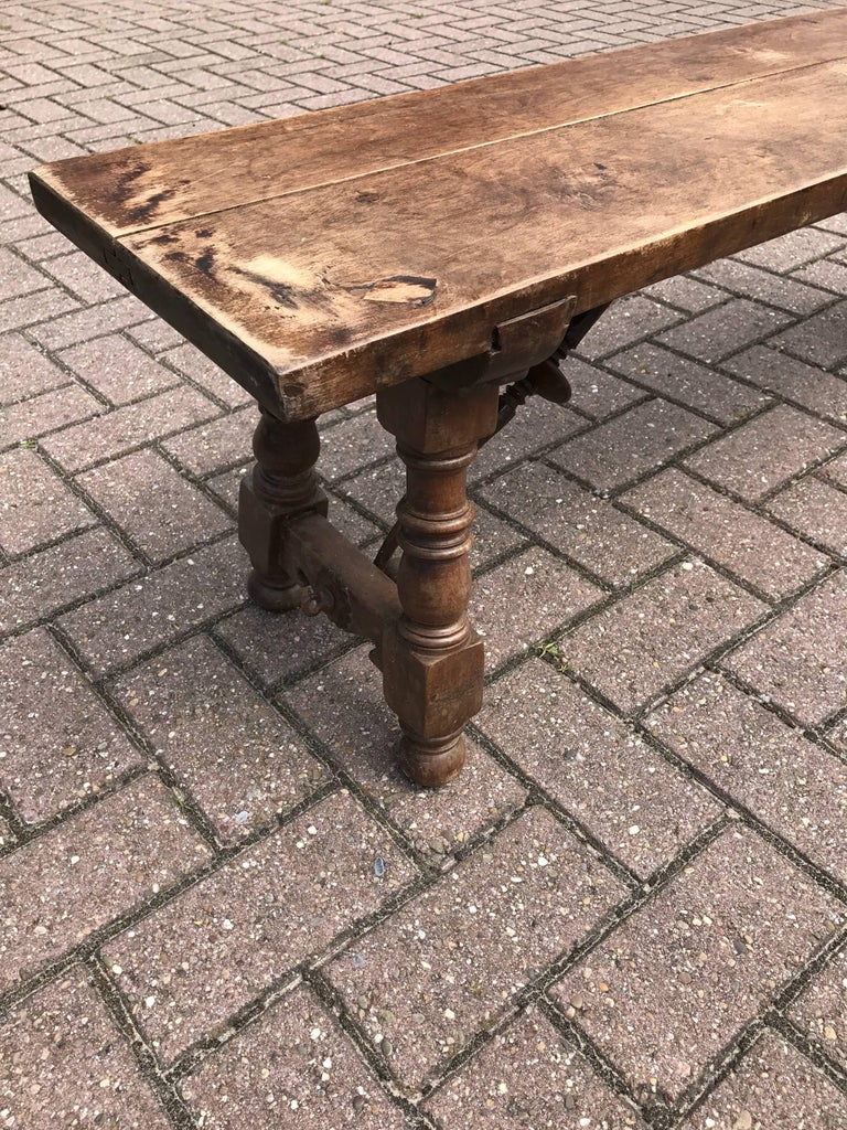 Wooden Fireplace Stools ~ Antique spanish hallway bench or fireplace stool made of
