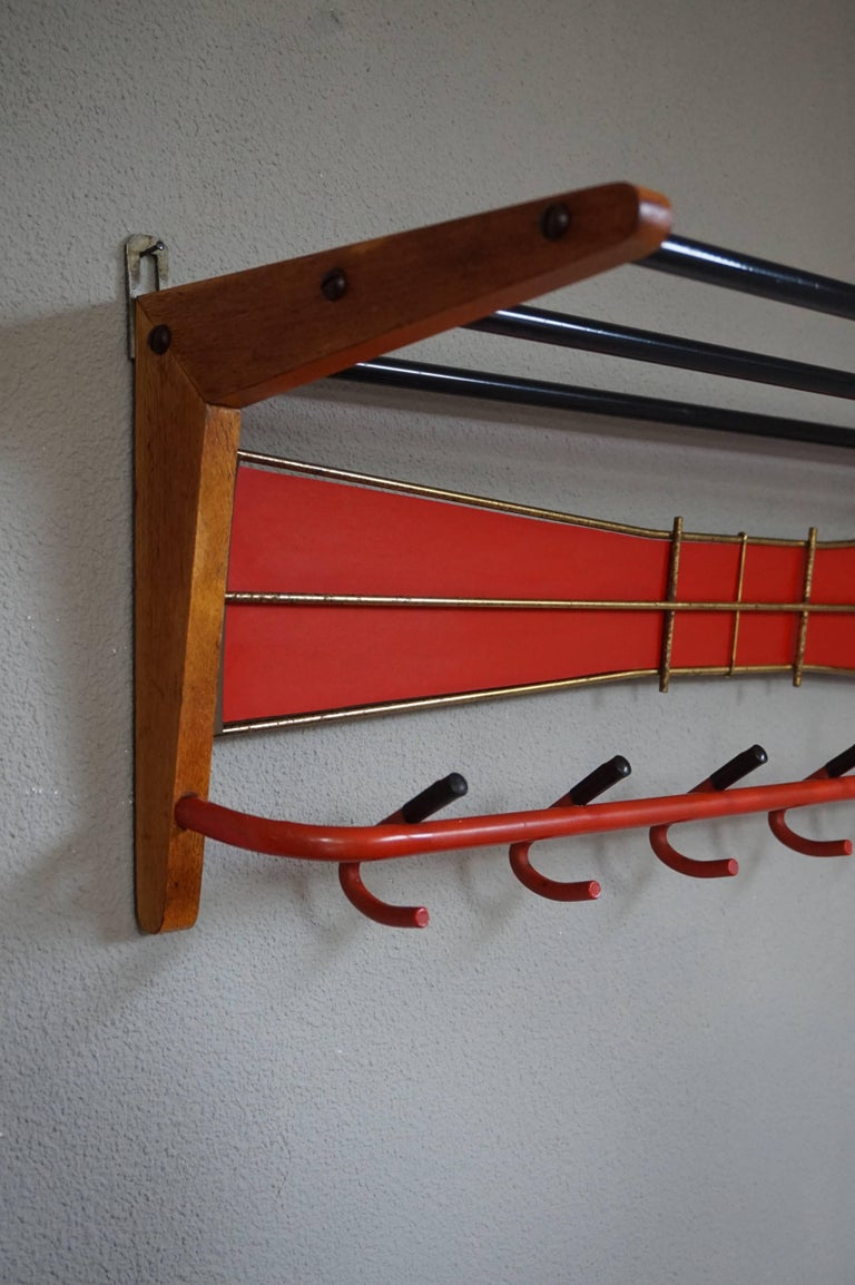 Hand-Crafted Mid-Century Modern Wood, Brass and Plastic, Red and Black Coat and Hat Rack For Sale