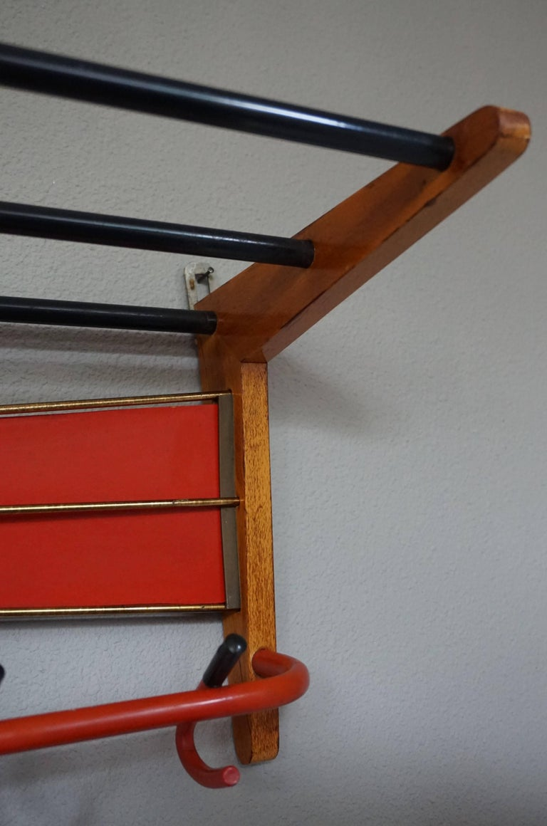 Mid-Century Modern Wood, Brass and Plastic, Red and Black Coat and Hat Rack For Sale 1