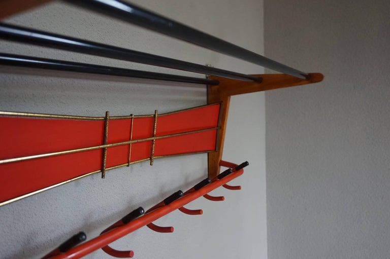 Mid-Century Modern Wood, Brass and Plastic, Red and Black Coat and Hat Rack For Sale 2