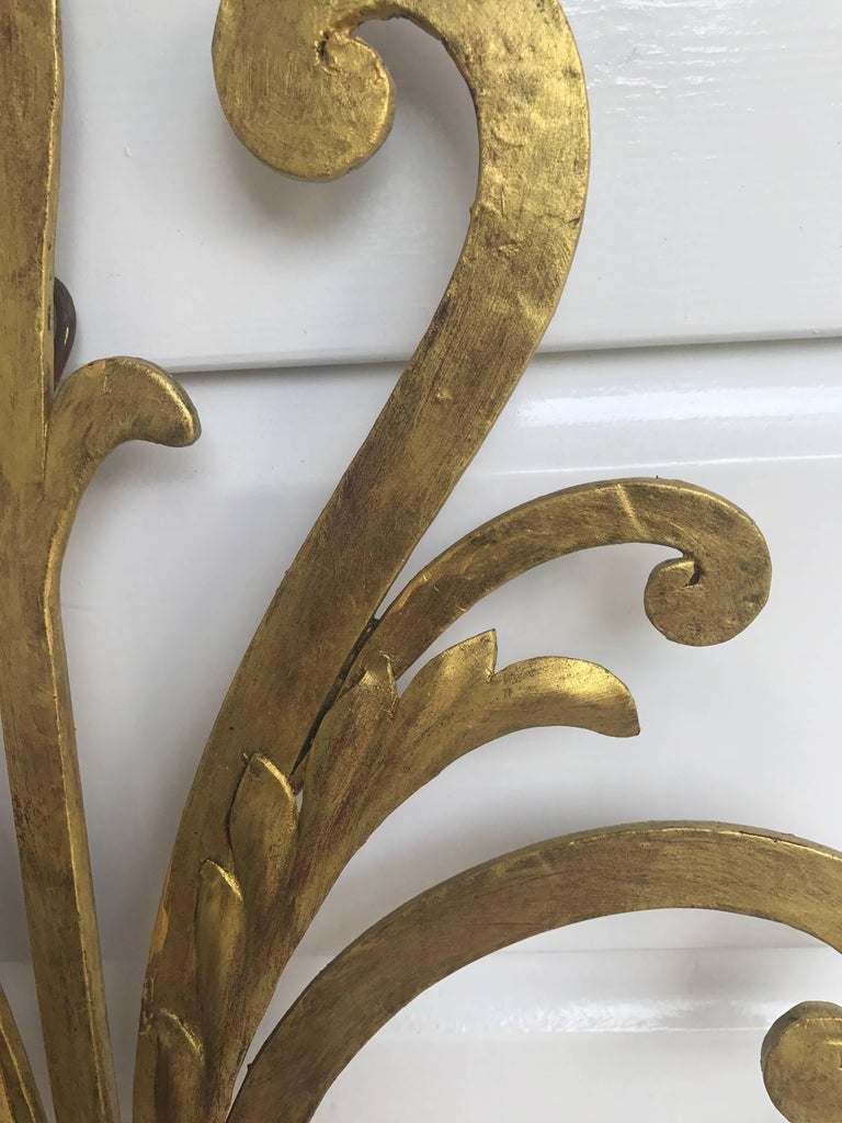 Hand-Carved Large Wrought Iron Five-Light Single Wall Sconce Labelled Palladio, Italy For Sale