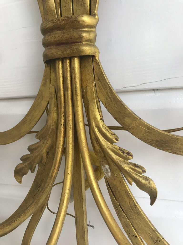 Large Wrought Iron Five-Light Single Wall Sconce Labelled Palladio, Italy In Excellent Condition For Sale In Lisse, NL