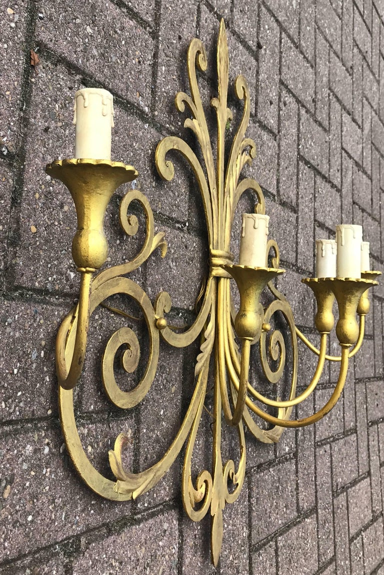 Large Wrought Iron Five-Light Single Wall Sconce Labelled Palladio, Italy For Sale 3