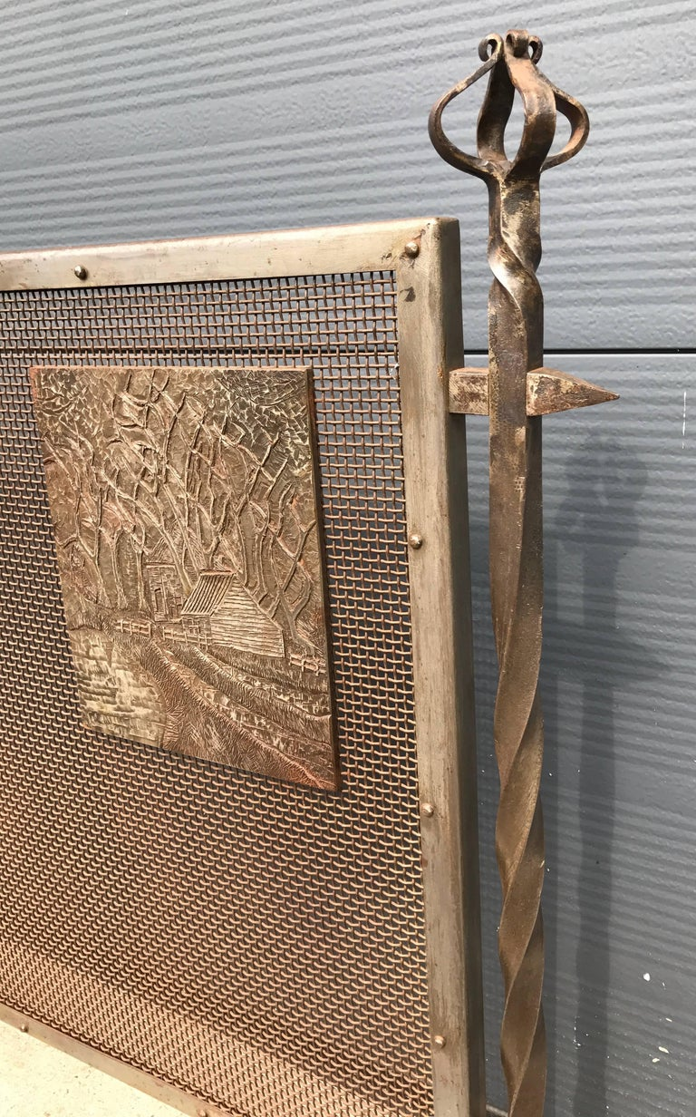 Hand-Carved Unique Arts & Crafts Wrought Iron and Metal Firescreen with Cast Iron Plaque For Sale
