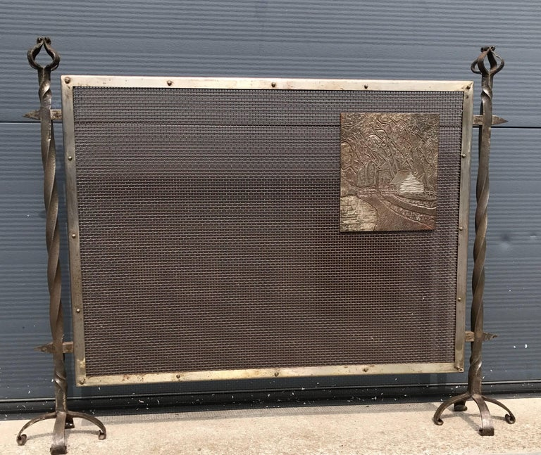 Unique Arts & Crafts Wrought Iron and Metal Firescreen with Cast Iron Plaque For Sale 2