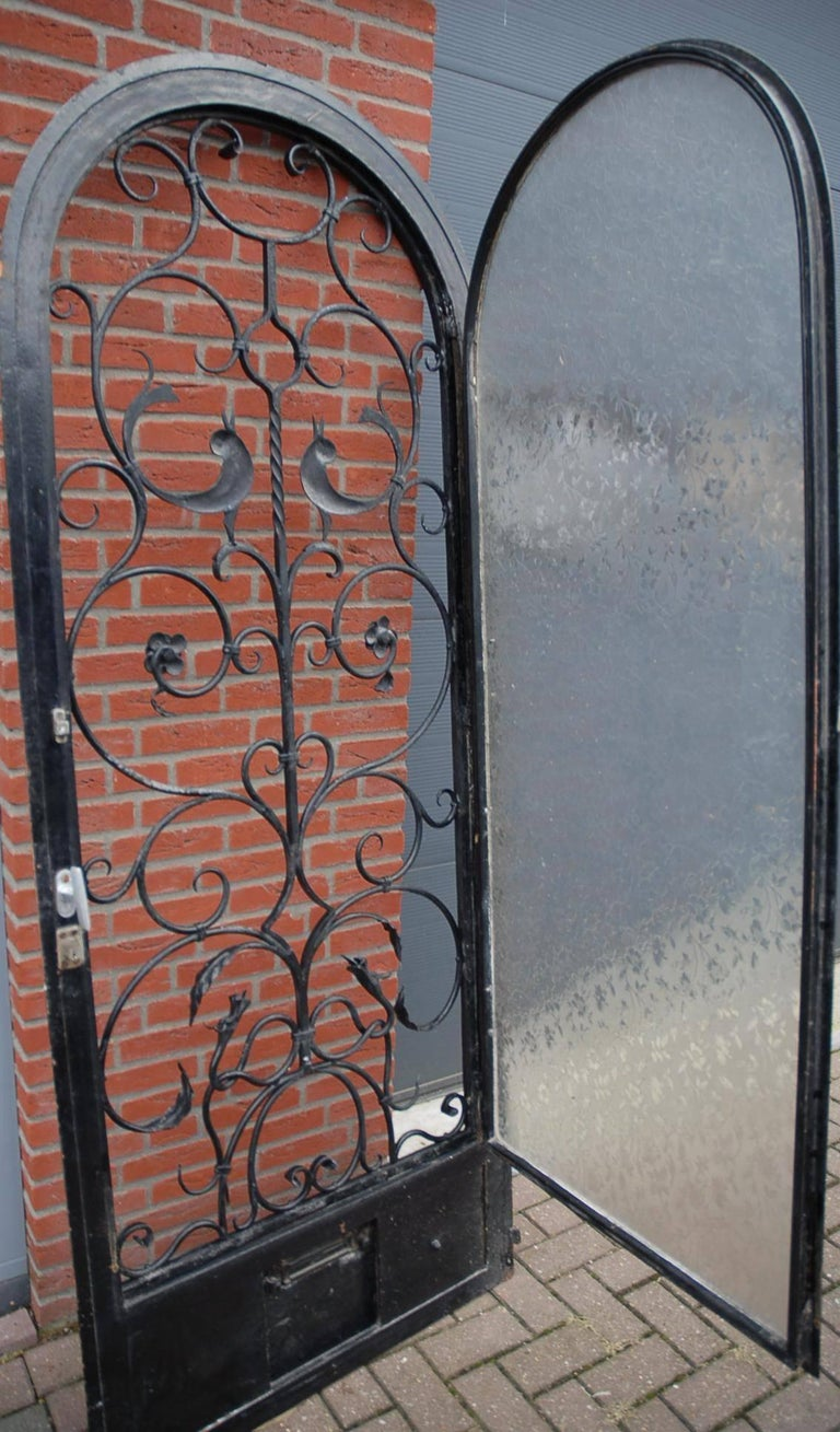 Vintage Arts And Crafts Style Entry Door W Wrought Iron