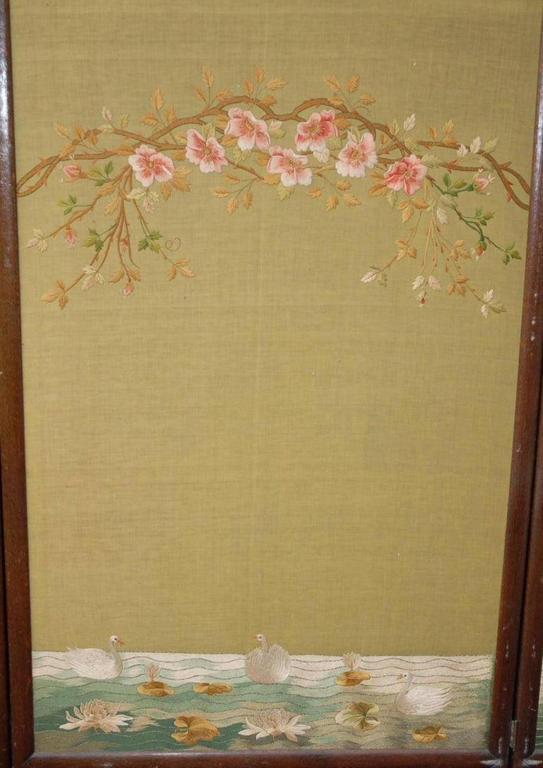 Large Chinese Three-Fold Wall Screen with Silk Lotus Flower and Swan ...