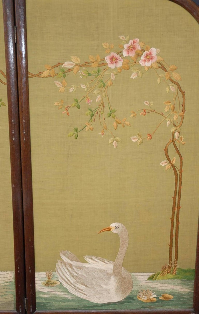 Hand-Crafted Large Chinese Three-Fold Wall Screen with Silk Lotus Flower and Swan Embroidery For Sale