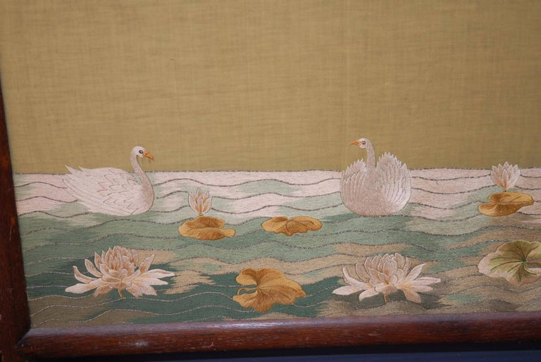20th Century Large Chinese Three-Fold Wall Screen with Silk Lotus Flower and Swan Embroidery For Sale