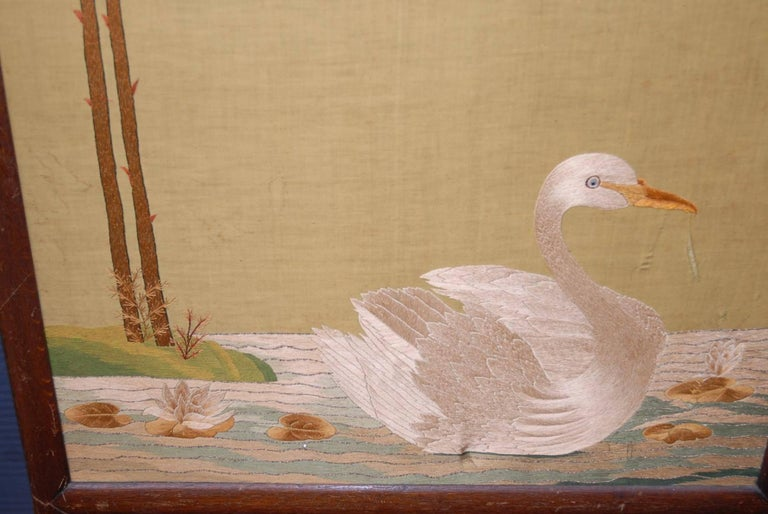 Wood Large Chinese Three-Fold Wall Screen with Silk Lotus Flower and Swan Embroidery For Sale
