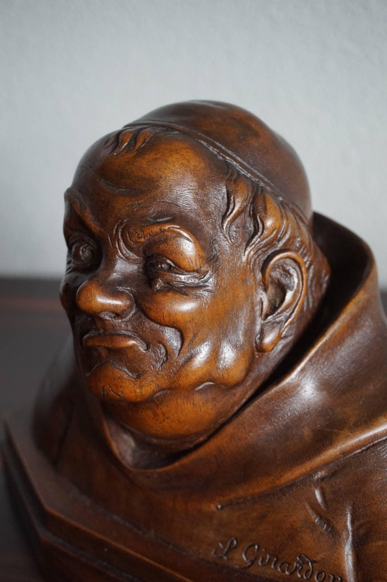 Rare and top quality carved pair of monk busts by L. Girardon.  Nowadays, anyone capable of making a detailed drawing of a human face is considered an artist (and rightly so). For a person to be able to carve detailed busts with striking faces out