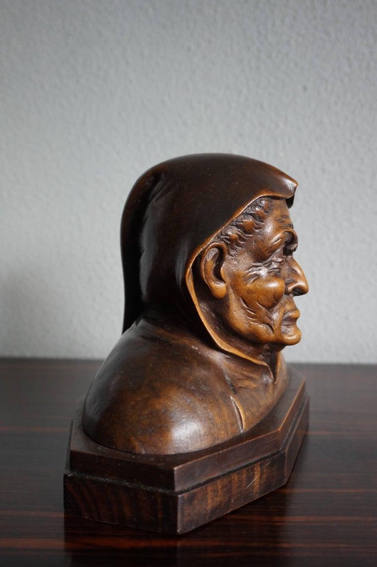 Nutwood Pair of Antique Hand Carved Renaissance Revival Caricature Monk Sculptures
