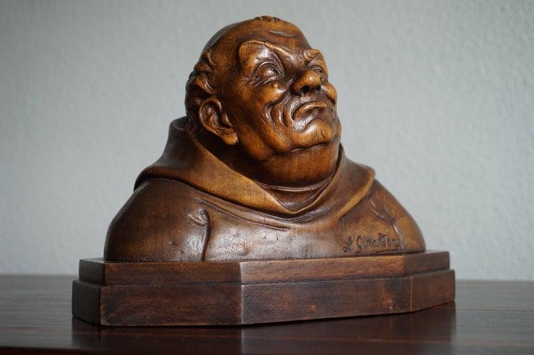 European Pair of Antique Hand Carved Renaissance Revival Caricature Monk Sculptures