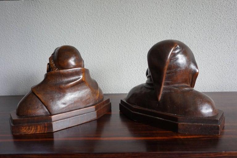 Pair of Antique Hand Carved Renaissance Revival Caricature Monk Sculptures 1