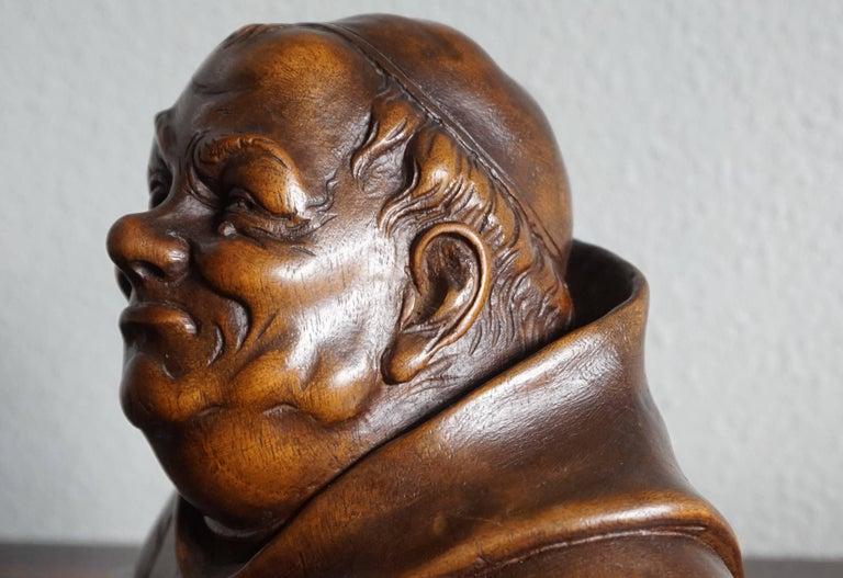 Pair of Antique Hand Carved Renaissance Revival Caricature Monk Sculptures 2