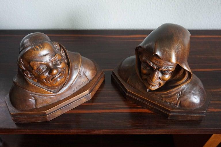 Pair of Antique Hand Carved Renaissance Revival Caricature Monk Sculptures 3