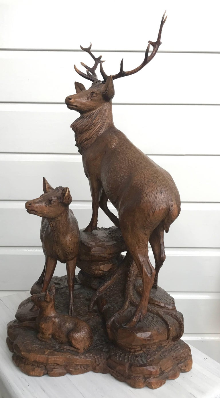 19th Century Antique and Large Hand-Carved Black Forest Walnut Deer Family Sculpture Statue For Sale
