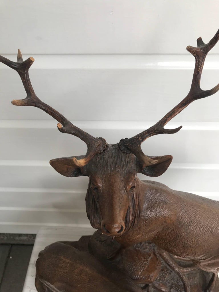 Antique and Large Hand-Carved Black Forest Walnut Deer Family Sculpture Statue For Sale 4