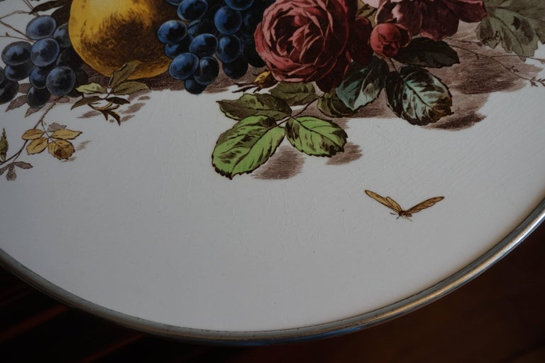 Early 20th Century Fruit & Flowers Porcelain Tile Pie Stand on Chrome Metal Base For Sale 3