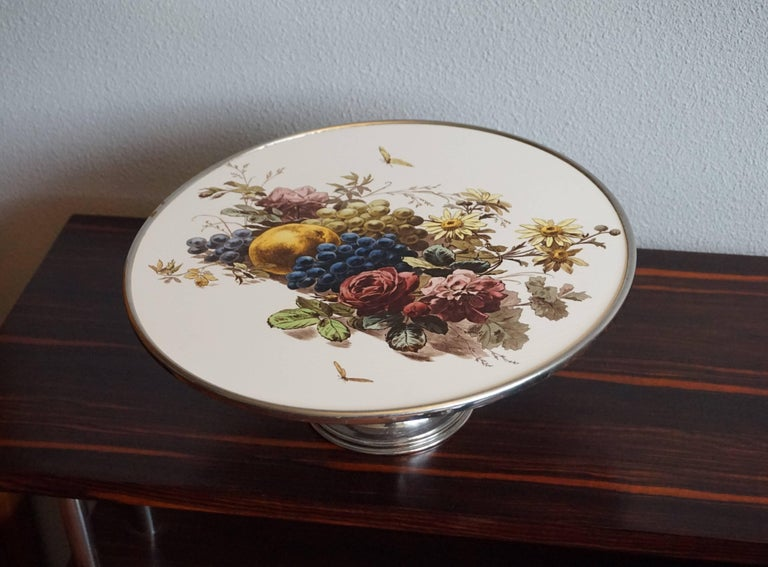 Early 20th Century Fruit & Flowers Porcelain Tile Pie Stand on Chrome Metal Base For Sale 6