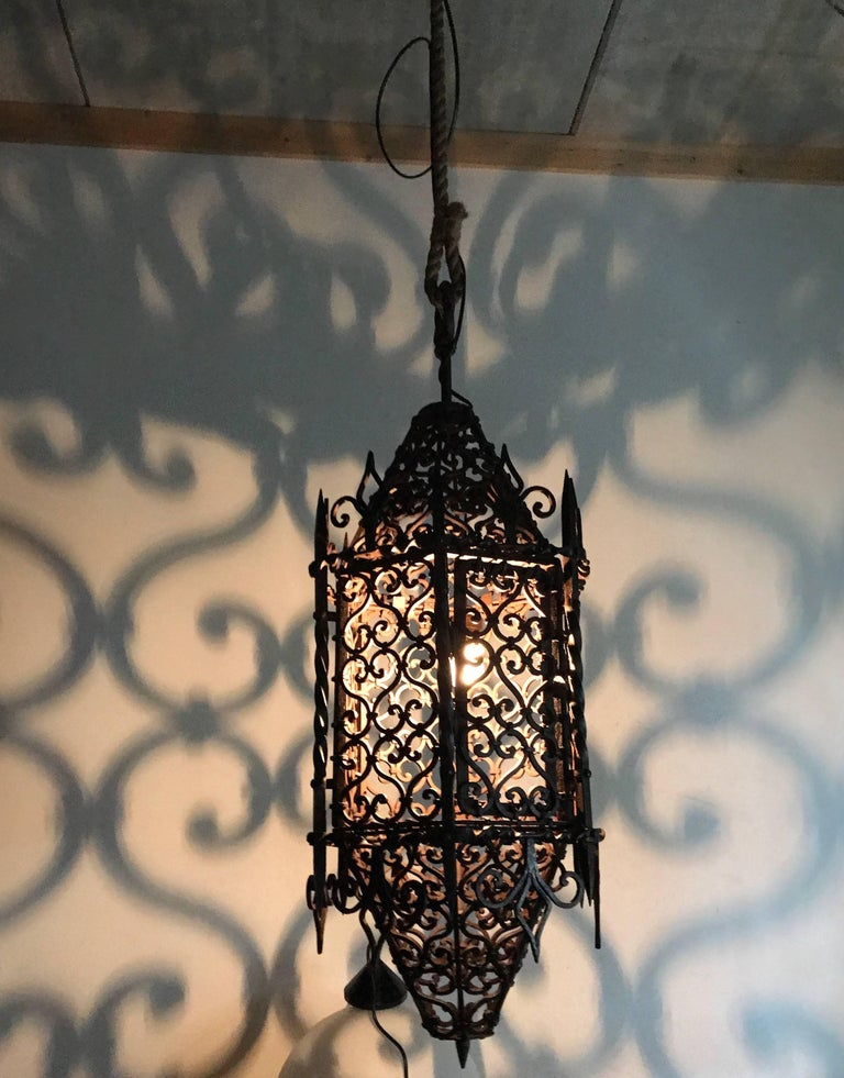 Hand-Crafted Large Moorish Style Hand crafted Wrought Iron Porch Lantern, Wall Pendant Light  For Sale