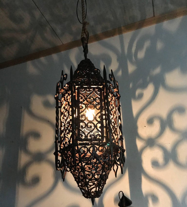 Large Moorish Style Hand crafted Wrought Iron Porch Lantern, Wall Pendant Light  In Excellent Condition For Sale In Lisse, NL