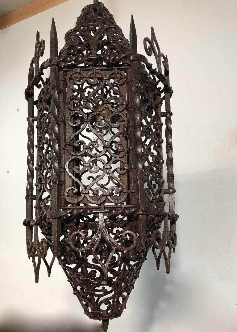 Antique And Large Moorish Style Wrought Iron Lantern Or