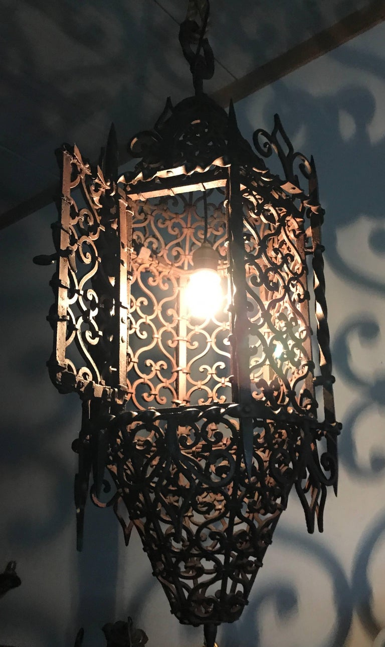 Large Moorish Style Hand crafted Wrought Iron Porch Lantern, Wall Pendant Light  For Sale 4