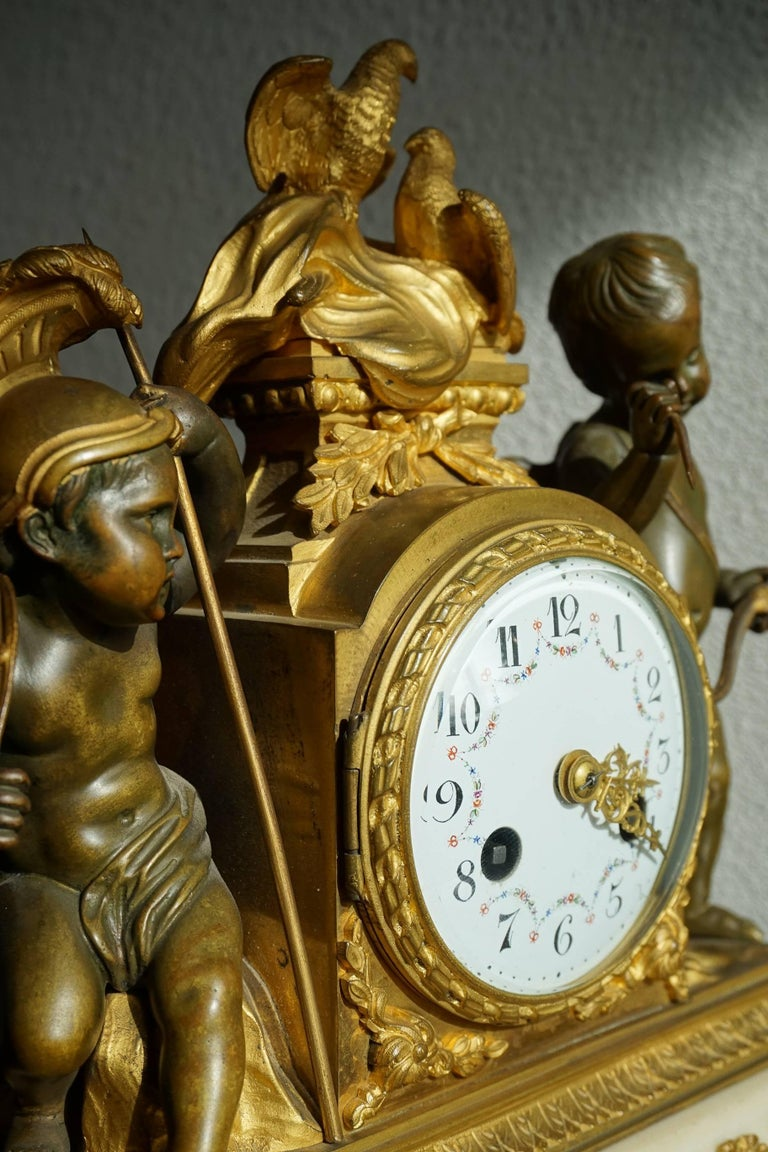 Antique Gilt Bronze & Patinated Cupid & Soldier Mantel Clock Love Overcomes War For Sale 2