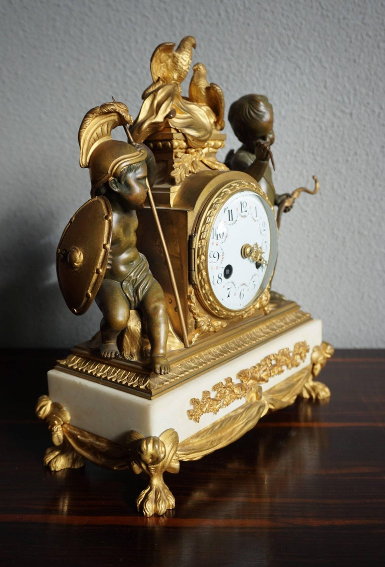 Stunning, French Transition style mantel clock from the 1850s.  This wonderful and meaningful Parisian mantel clock is a rare 19th century edition of an 18th century design by Charles Le Roy. There are only minor differences and this, originally