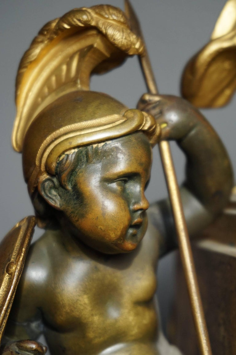 French Antique Gilt Bronze & Patinated Cupid & Soldier Mantel Clock Love Overcomes War For Sale