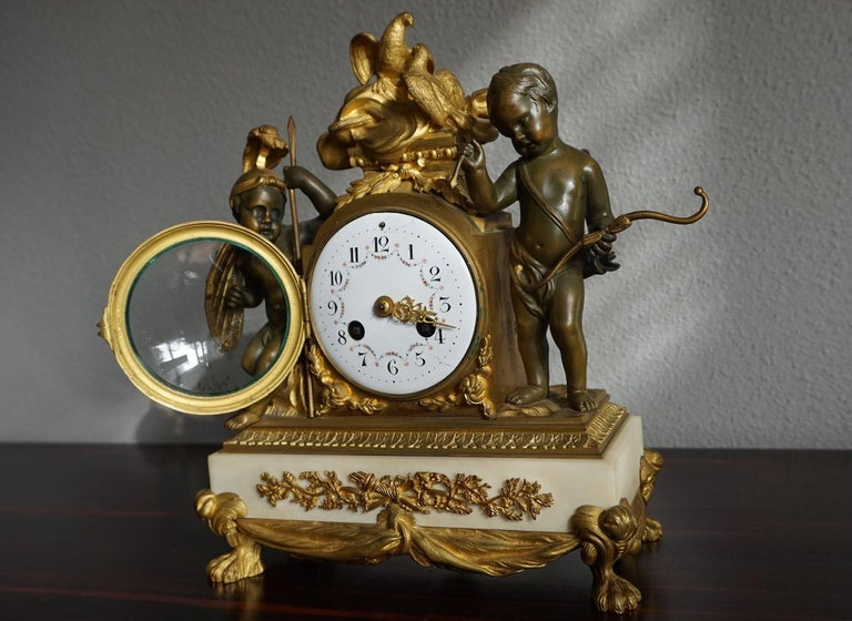 19th Century Antique Gilt Bronze & Patinated Cupid & Soldier Mantel Clock Love Overcomes War For Sale