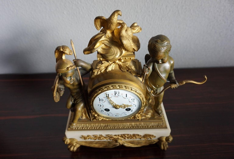 Antique Gilt Bronze & Patinated Cupid & Soldier Mantel Clock Love Overcomes War For Sale 1