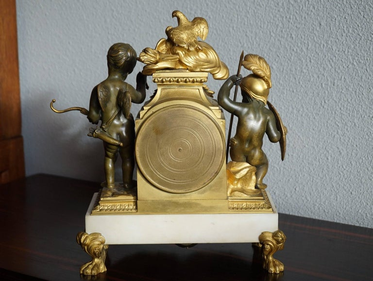 Antique Gilt Bronze & Patinated Cupid & Soldier Mantel Clock Love Overcomes War For Sale 4