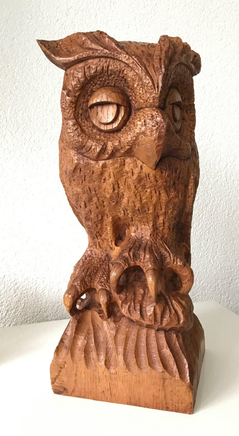Sizable mid 20th century carved oak owl rare and symbol of learning