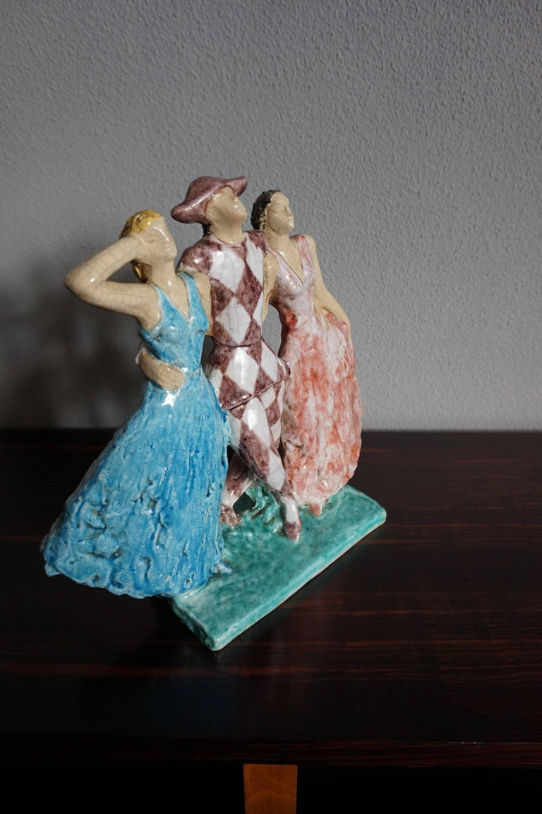 Rare French Art Deco Harlequin & Columbines Ceramic Sculpture by Edouard Cazaux In Excellent Condition For Sale In Lisse, NL
