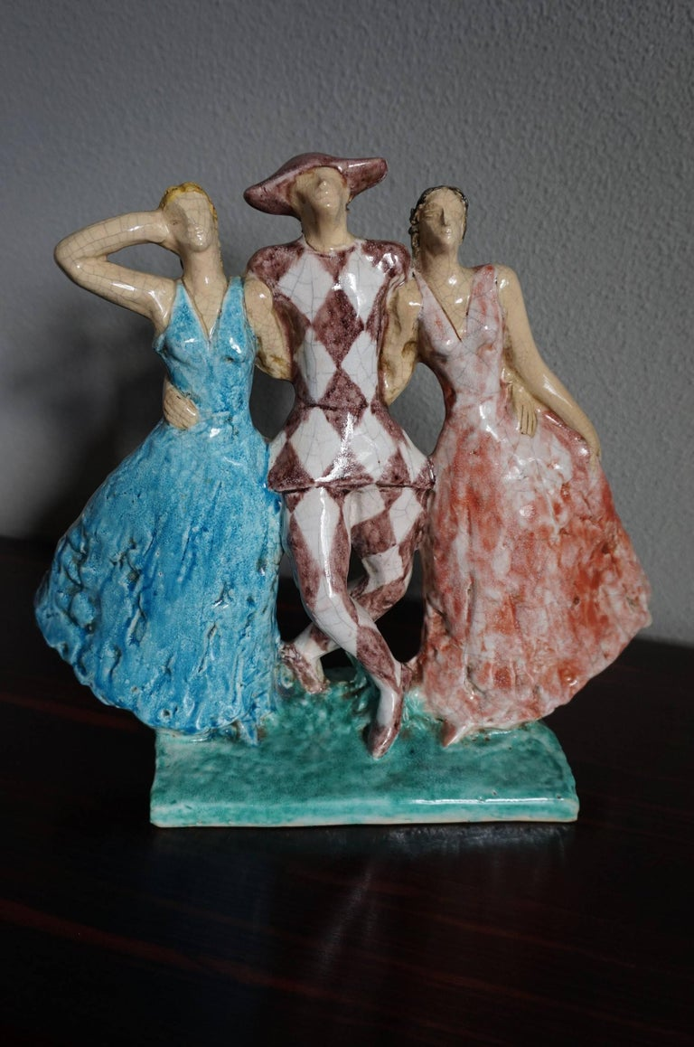 Rare French Art Deco Harlequin & Columbines Ceramic Sculpture by Edouard Cazaux For Sale 3