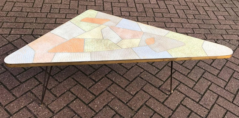 Mid Century Playful Triangle Shape Coffee Table With Glass