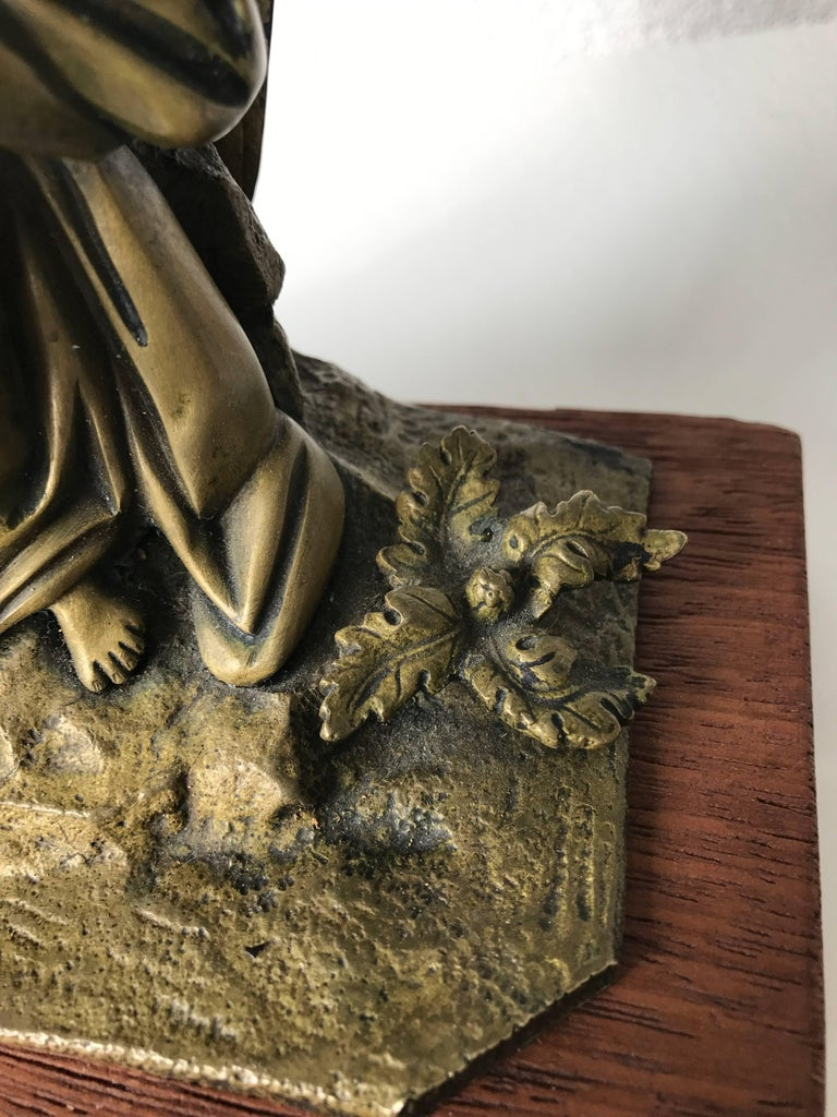 French Antique Bronze Winged Angel Sculpture with Harp by Auguste Eugene Rubin For Sale