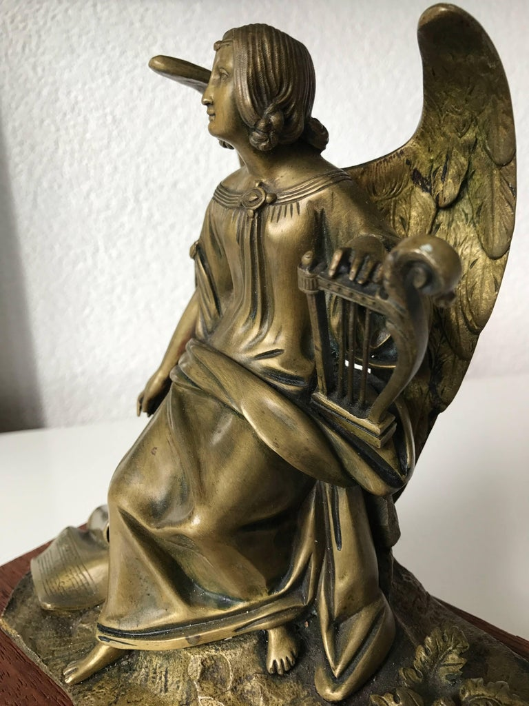 Patinated Antique Bronze Winged Angel Sculpture with Harp by Auguste Eugene Rubin For Sale