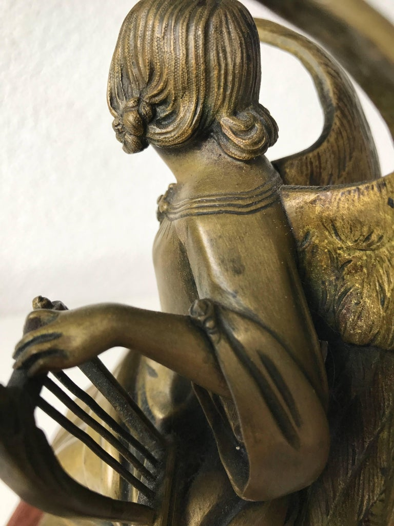 Antique Bronze Winged Angel Sculpture with Harp by Auguste Eugene Rubin In Excellent Condition For Sale In Lisse, NL