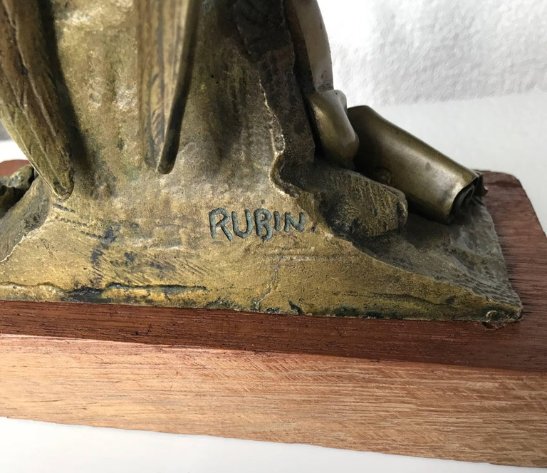 Wood Antique Bronze Winged Angel Sculpture with Harp by Auguste Eugene Rubin For Sale