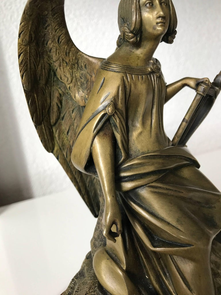 Antique Bronze Winged Angel Sculpture with Harp by Auguste Eugene Rubin For Sale 1