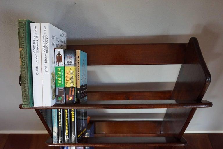 British Antique and Rare Mahogany Color Three Tier Small Bookcase or Book Trough
