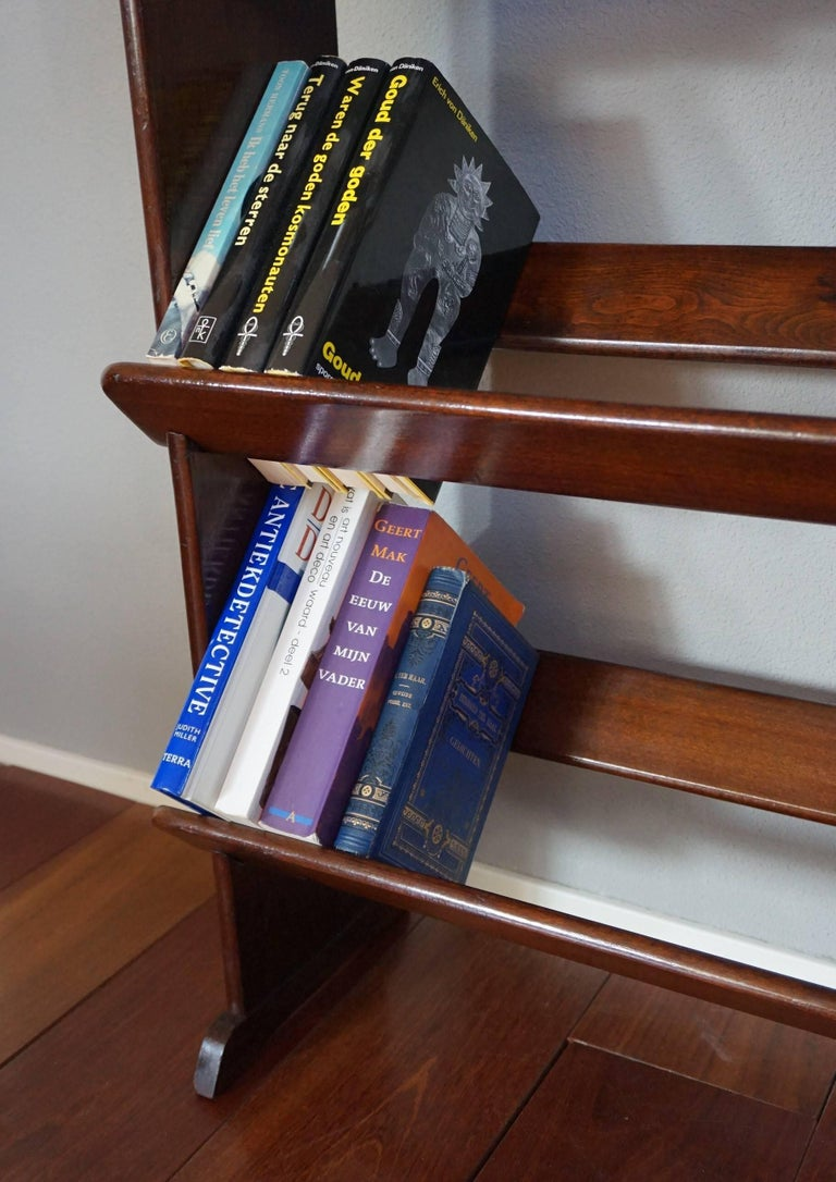Antique and Rare Mahogany Color Three Tier Small Bookcase or Book Trough In Excellent Condition In Lisse, NL